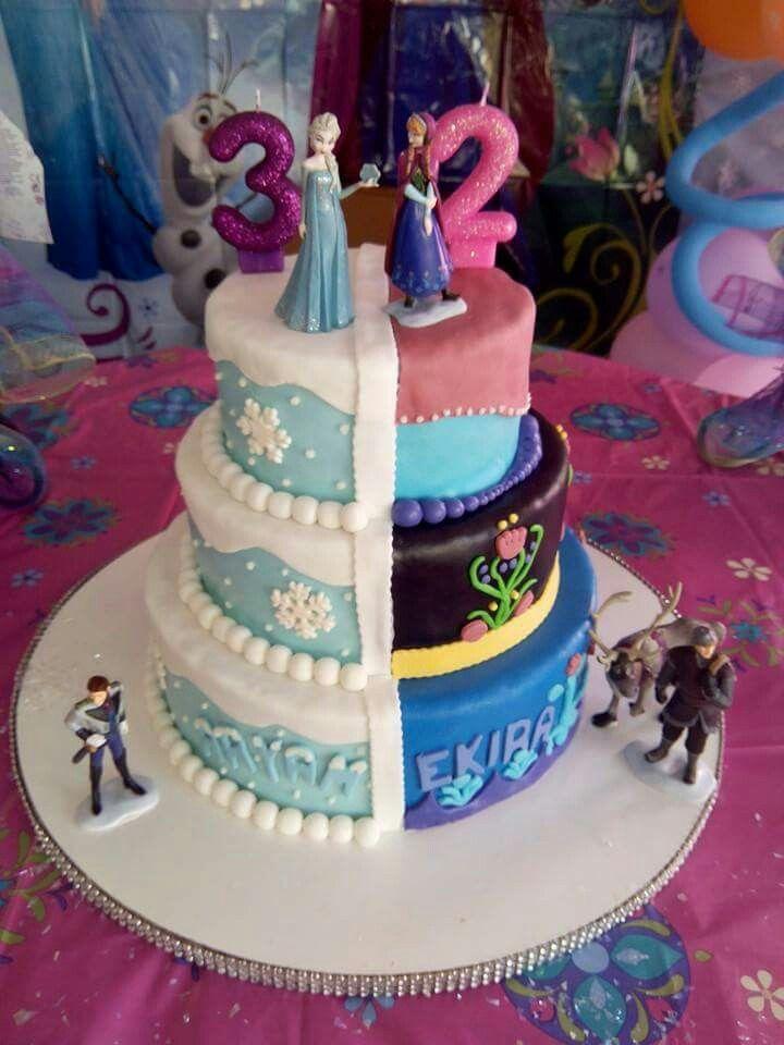 Ana and elsa  birthday cake