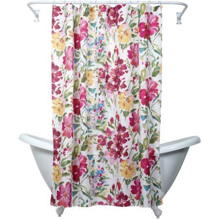 Zenna Home India Ink Watercolor Floral Shower Curtain, Multi - Walmart.com