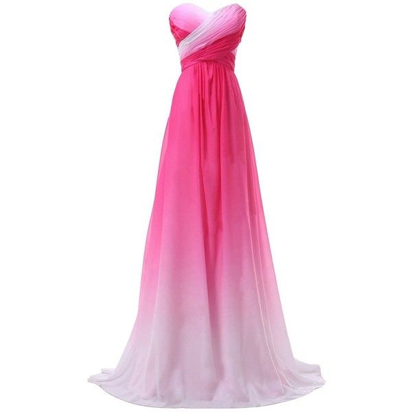 KAY&LAYLA Women's Ombre Chiffon Pleated Long Prom Dress Open Back... ($80) ❤ liked on Polyvore featuring dresses, gowns, abiti, gown, pink chiffon dress, long formal gowns, long evening dresses, formal evening gowns and long chiffon dress