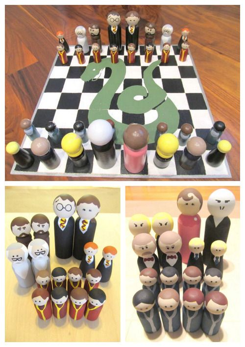 diychristmascrafts: DIY Easy Harry Potter Peg People Chess Set and Case Tutorial from instructables here.