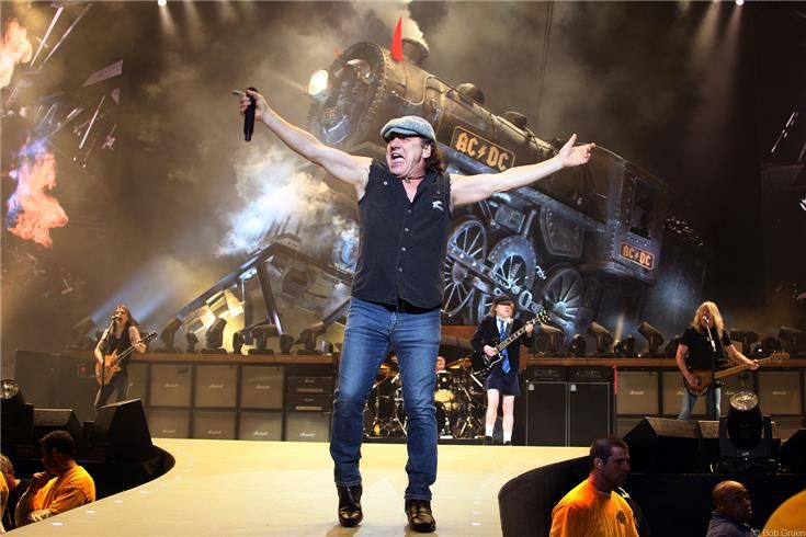 AC/DC on stage at the Philips Arena in Atlanta, GA. December 16, 2008 by Bob Gruen.