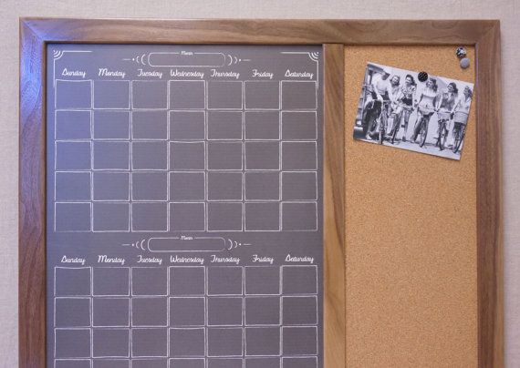 Framed Dry Erase Board And Cork Board Command Center