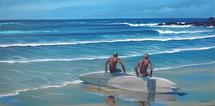 #first point #Noosa #surf #longboards #surfing #beach #painting #oil_painting