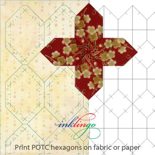 Print hexagons for Patchwork of the Crosses on fabric or on paper