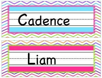 Love these Colorful Chevron Name Plates!