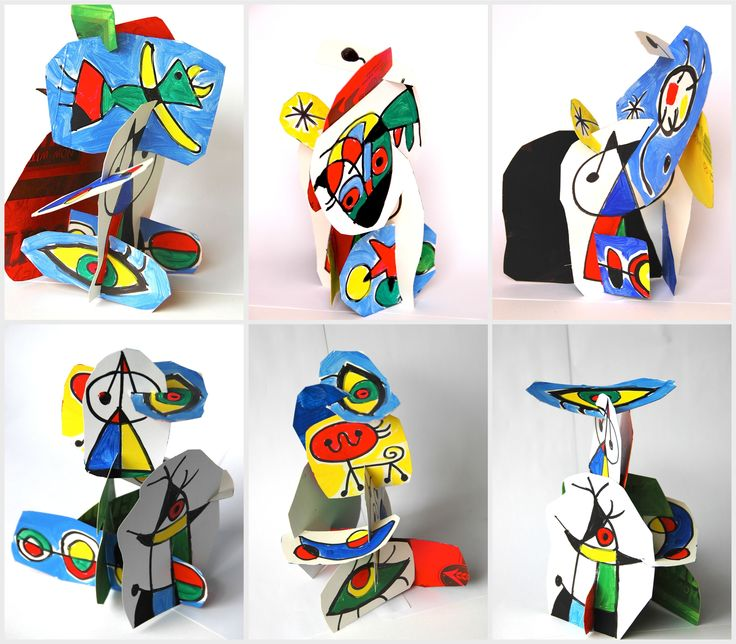 mirò in 3D - sculptures with corn flakes cardboard boxes