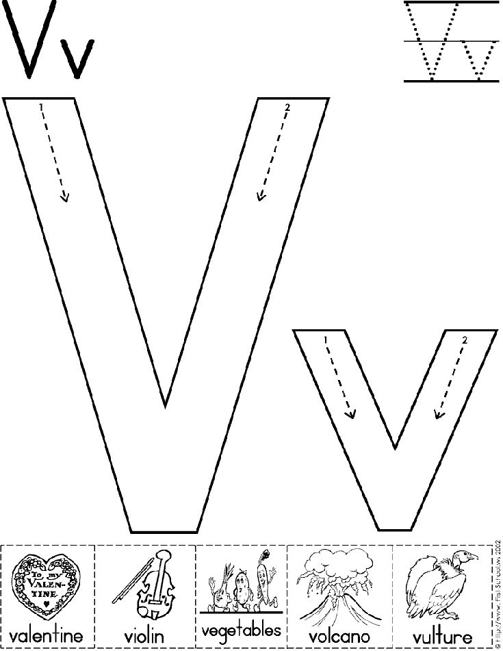 alphabet letter v worksheet standard block font preschool printable activity early. Black Bedroom Furniture Sets. Home Design Ideas