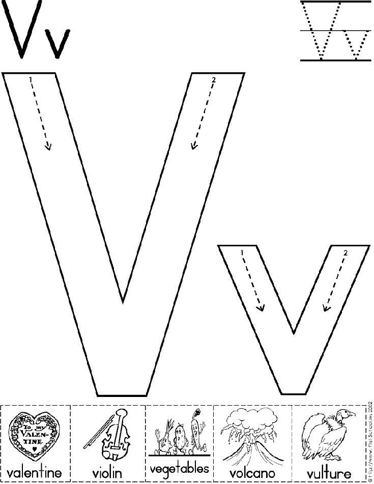 alphabet letter v worksheet standard block font preschool printable activity early. Black Bedroom Furniture Sets. Home Design Ideas