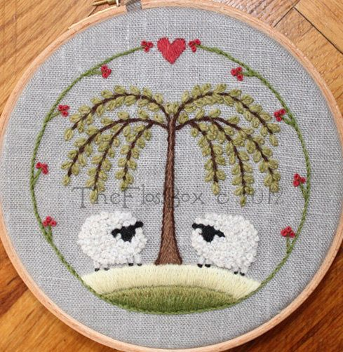 Two Sheep Crewel Embroidery Pattern and Kit by Theflossbox on Etsy, $15.50