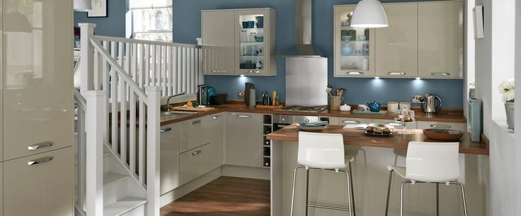 Greenwich Gloss Flint Grey Kitchen Range | Kitchen Families | Howdens Joinery