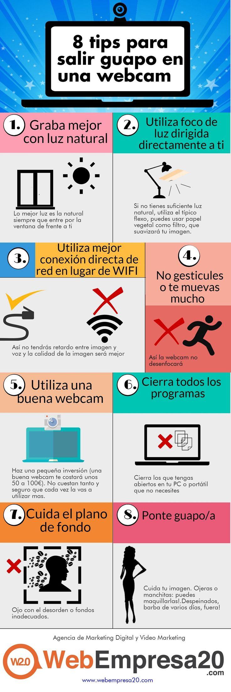 8 tips para salir guapo en una webcam  #infografia #infographic