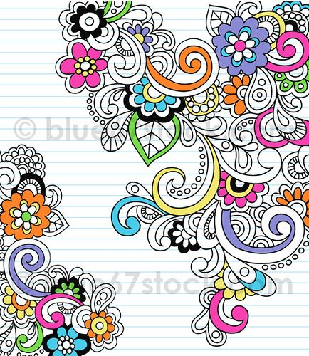 Psychedelic Flower and Paisley Notebook Doodle Vector Illustration by blue67 by blue67design, via Flickr