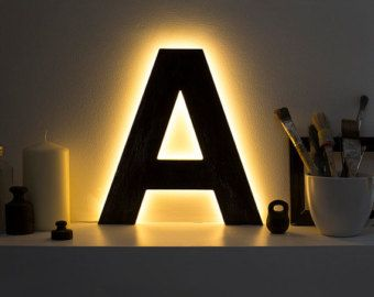Wooden letter lighted A decorative letter light eco LED lights personalized night lamp home art for wall custom sign alphabet
