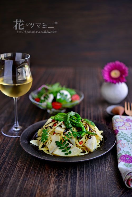 筍ペペロンチーノ - Banboo peperoncino Pasta
