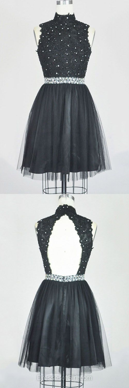 Lace Homecoming Dresses, Black Party Dresses, High Neck Prom Dresses, Cheap Graduation Dress, Cute Cocktail Dresses