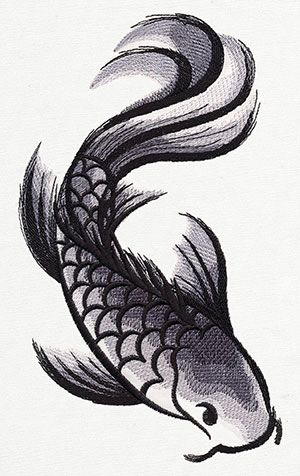 "Ink-like ""washes"" of stitching create a unique koi fish design."