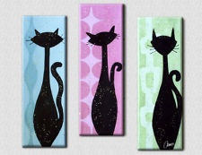 ATOMIC CAT PAINTING TRYPTYCH SET MID CENTURY MODERN EAMES RETRO BLACK CATS