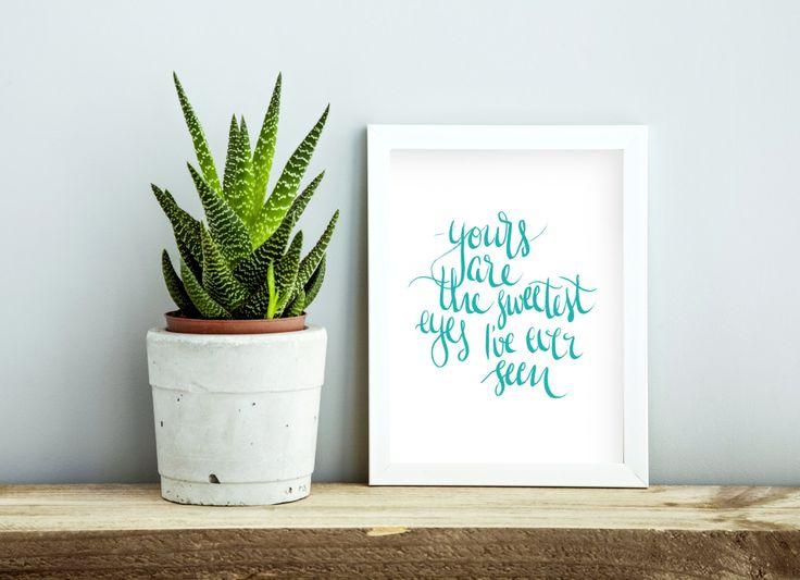 A4 // Digital Download // Modern Brush Green Ink Script Typography // Nursery…