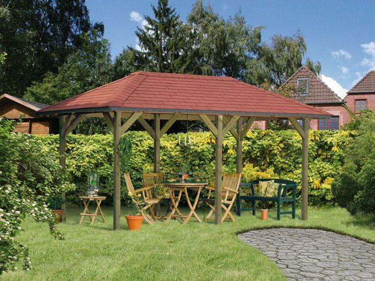 Karibu Pavillon Luzern 2 inkl. Pfostenträger und Dachschindel rot 1