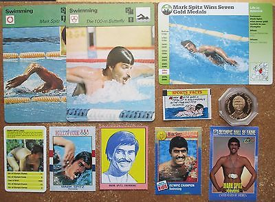Mark Spitz lot 10 misc Cards ISP Coin Sportscaster Grolier Jewish Stamp Topps