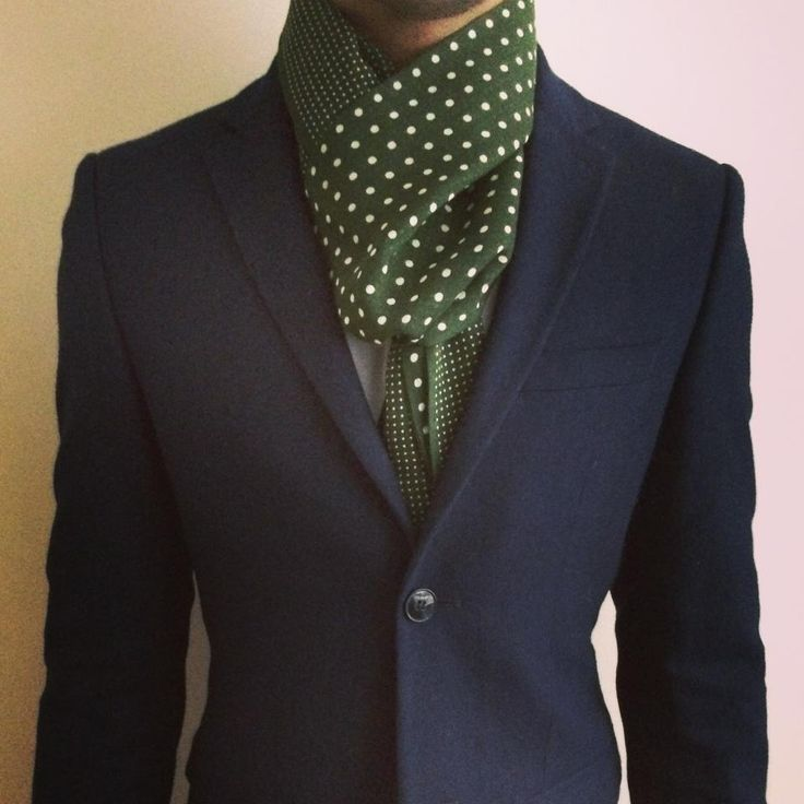 @topman navy suit with Reiss spotted scarf