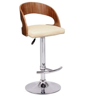 Barcelona Faux Leather Swivel Barstool  Features:  19 x 20 x 35.5 – 44″ Adjustable Seat Height: 25 – 33.5″H 45cm diameter Base for Stability Walnut Bentwood Availabe colors: Cream or Black