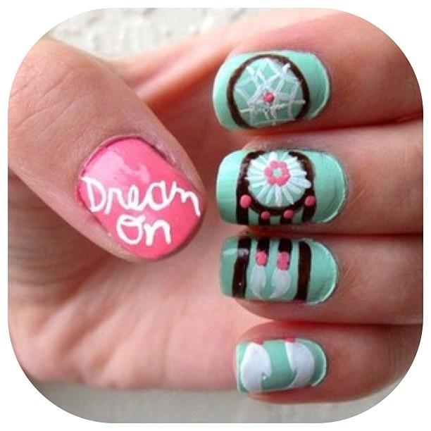 dreamcatcher nails: Nails Art, Nailart, Nails Design, Style, Makeup, Dreamcatchers Nails, Beautiful, Nailss, Dreams Catcher Nails