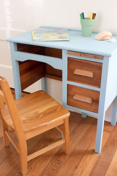 little blue painted wooden desk - Mess Hall- Tybee Island, Georgia via The Lettered Cottage