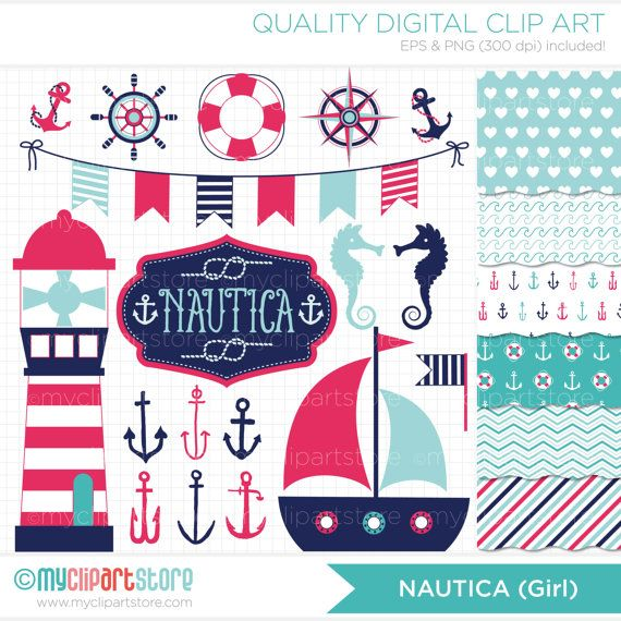 Clipart Combo  Nautica Girl / Nautical / Marine by MyClipArtStore