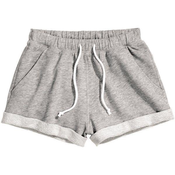 H&M Sweatshirt shorts (22 BRL) ❤ liked on Polyvore featuring shorts, bottoms, pants, short, grey, short shorts, h&m shorts, cotton shorts, gray shorts and grey cotton shorts