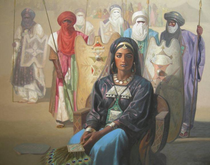 ملكـة الطـوارق للفنان الجزائري حسيـن زيّـانـي، 2007 في هذه اللوحة يرسم حسين  زيّاني