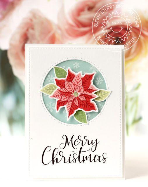 Sunny Studio Stamps: Petite Poinsettias Christmas Card by Karin Akesdotter