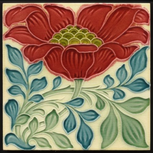 TH2590-Rare-Pilkington-Lewis-Day-Arts-amp-Crafts-Floral-Majolica-Peony-Tile-c-1898