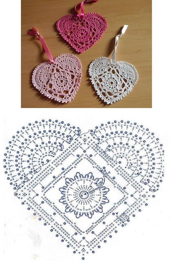 Coração  Heart - Crochet heart pattern...                                                                                                                                                     Mais
