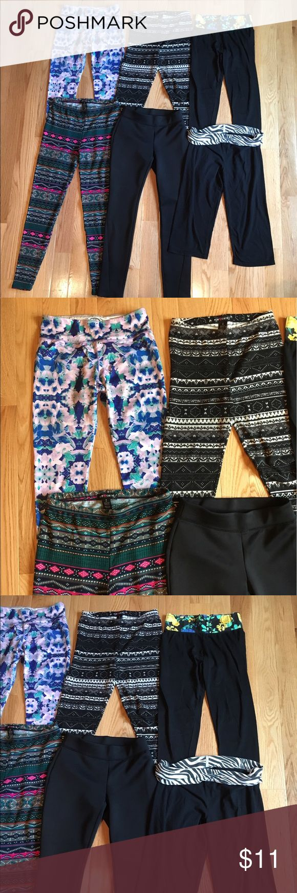 Bundle of 6 leggings and yogas ~Bundle of 6 pairs of leggings and yoga ~Sizes are indicated in last picture  ~All are in gently used condition with no stains or holes  ~Brands include l'amour, eye candy, high energie, Derek, and contact Pants Leggings
