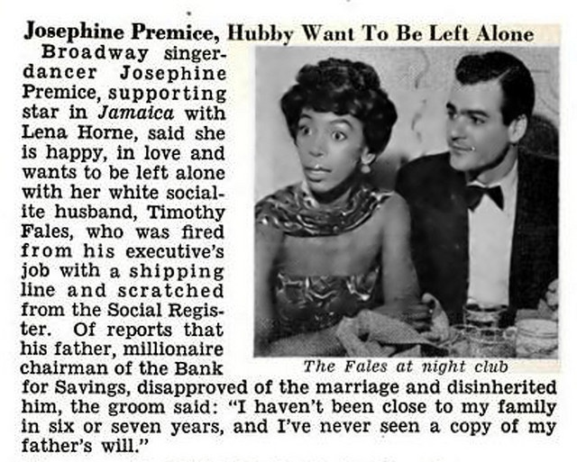 Josephine Premice and Husband Timothy Fales Want to be Left Alone - Jet Magazine, December 11, 1958