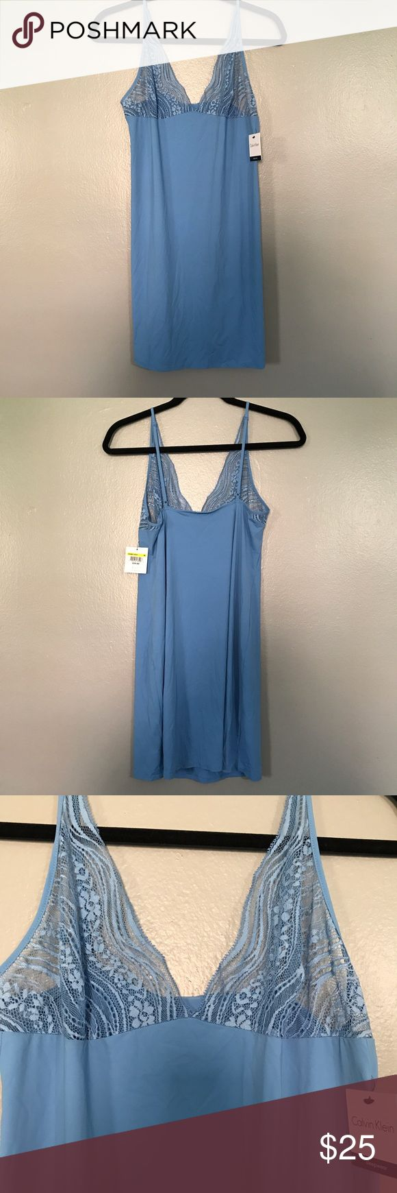 Calvin Klein Chemise - Size M Calvin Klein Sleepwear blue chemise with lace detail at bust. Adjustable straps. Calvin Klein Sleepwear Intimates & Sleepwear Chemises & Slips