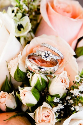 #Wedding rings on #pink roses. Love everything about this shot (Photo by Bliss Wedding Studio)