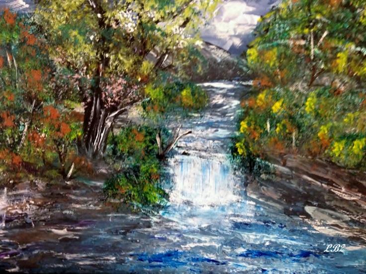 """""""Autumn Falls""""  Acrylics on canvas panel  11"""" x 14""""   April 18/13"""