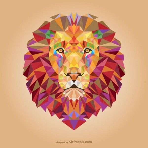 Vector triangle lion illustration by Freepik, via Behance