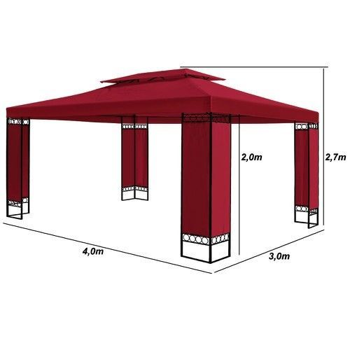 Garden Metal Frame Gazebo 3x4m Patio Pavilion Outdoor Shelter Party Canopy Tent #OutdoorGazeboTent