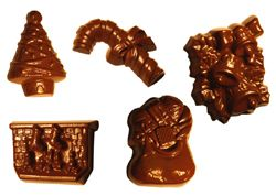 Polycarbonate Chocolate Mold: Christmas-Eve Living Room, 15 Cavities: 5 Shapes, 3 of Each