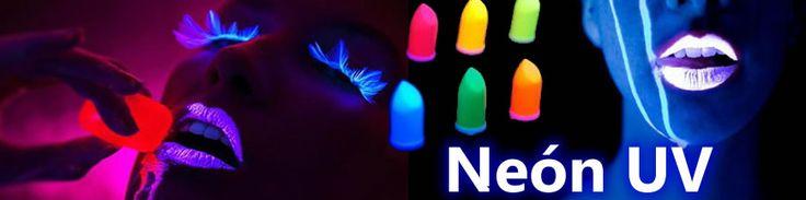Maquillajes de alta calidad para creaciones de BodyPaint Neón Fluorescente que brillan con luz negra UV. Pintalabios, sombras de ojos, rimmel, maquillaje, pintauñas, etc.