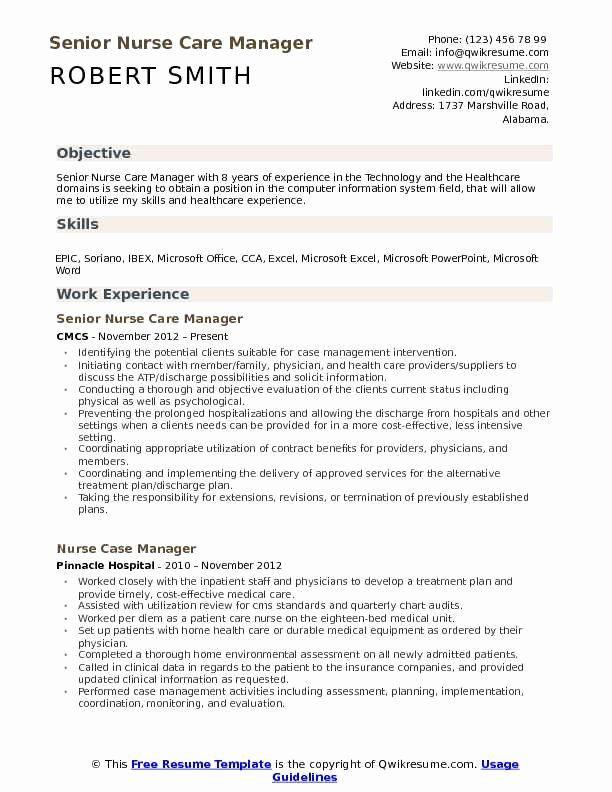 Nurse Resume Objective Example Beautiful Nurse Care Manager Resume Samples Resume Examples Resume Objective Examples Human Resources Resume
