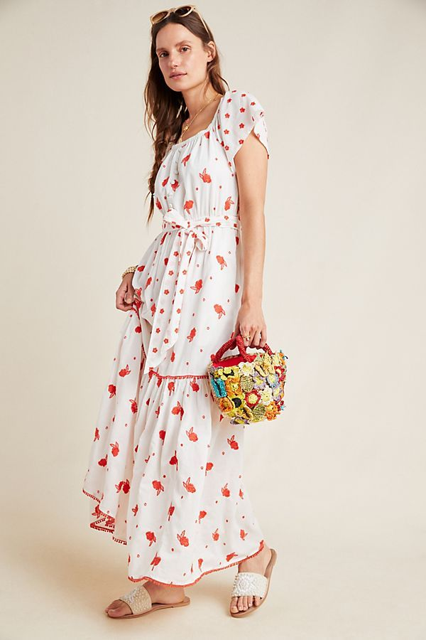 Esme Embroidered Floral Maxi Dress | Coral and Oranges in