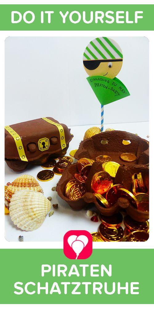 DIY-Piraten-Schatztruhe! Diese tolle Piraten-Schatztruhe ist super schnell selbstgemacht! Auf blog.balloonas.com zeigen wir Dir, wie es geht! Entdecke auch unsere vielen anderen Ideen rund um den Kindergeburtstag!  #motto  #kindergeburtstag #mottoparty #balloonas #party #pirate  #fluchderkaribik #seeman #deko  #schatz #schatztruhe #diy