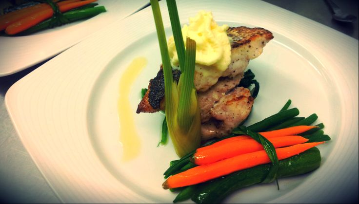 Sauted sea bream with citrus' foam  baby vegetables' parcel
