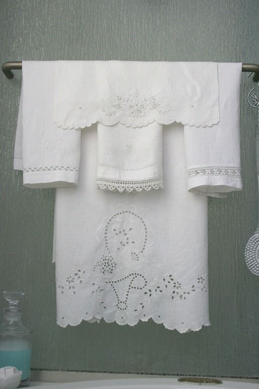 Bathroom - vintage linens (1) From: Décor To Adore, please visit