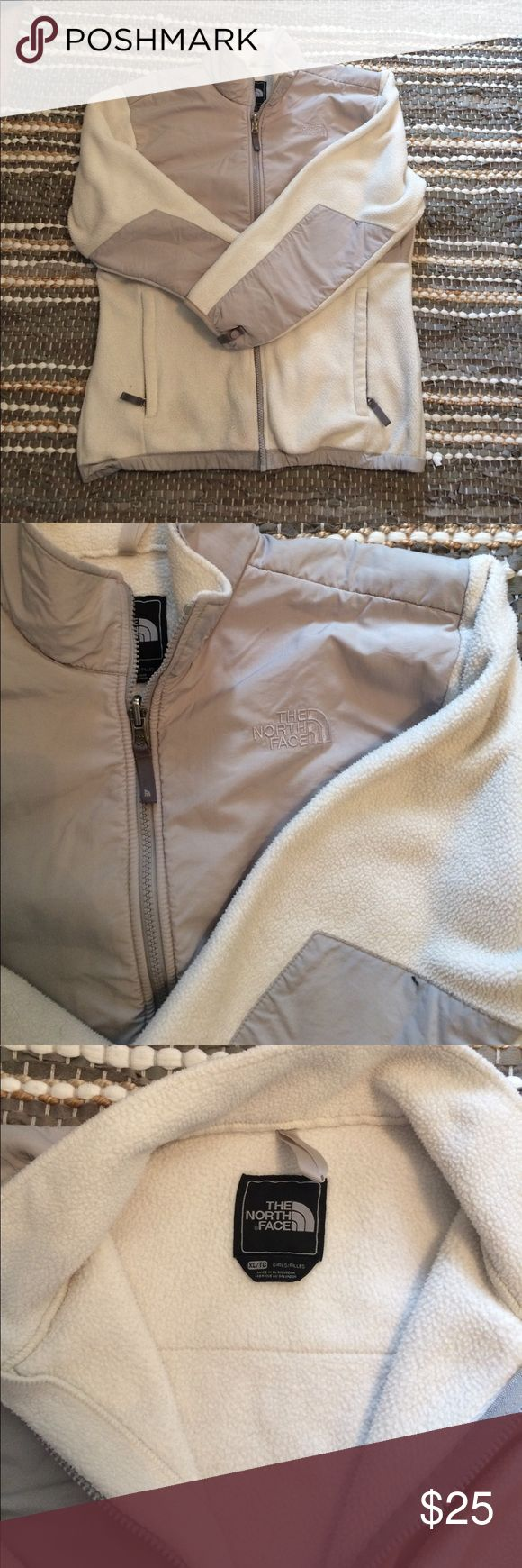 White and grey north face White and grey gently used girls north face. True to size, would fit a womens medium North Face Jackets & Coats