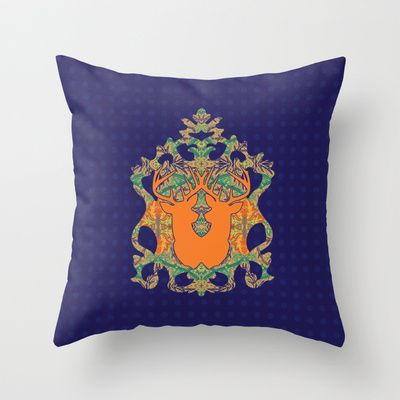 Orange Bloom : Deep blue Orange Throw Pillow by Geetika Gulia - $20.00
